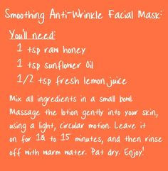 Smoothing DIY Anti Wrinkle & Exfoliating Face Mask. #DIY #beautytips #beauty