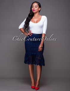 Chic Couture Online - Catia Navy-Blue Crochet Lace Mermaid Skirt, $45.00 (http://www.chiccoutureonline.com/catia-navy-blue-crochet-lace-mermaid-skirt/)