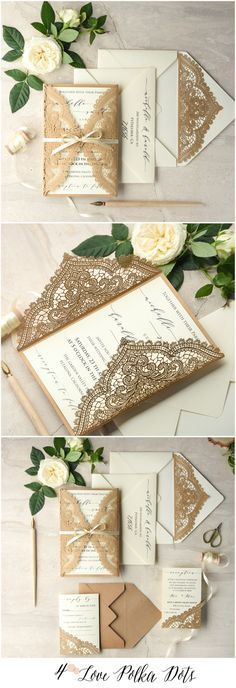 Laser cut lace romantic calligraphy wedding invitations with ribbon #weddinginvitations #lace #lasercut #calligraphy #romantic #vintage #elegant