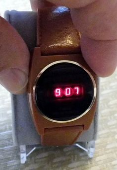 Vintage Texas Instruments Men's Red LED Electronic Watch, Series 500, Circa 1970s.