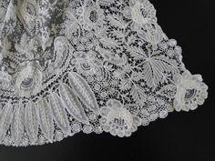 Maria Niforos - Fine Antique Lace, Linens & Textiles : Antique Lace # LA-306 Ornate 19th C. Brussels Lace Cape Shawl w/ Point De Gaze