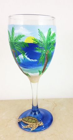 Hand painted glass Wine lover Gifts Ocean lover gift Beach