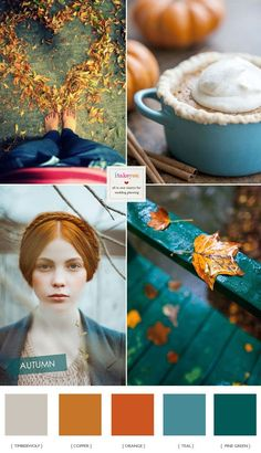 Gorgeous Teal and Copper Autumn Wedding Colour,wedding color teal copper fall wedding colors,orange and teal wedding palette,fall inspiration