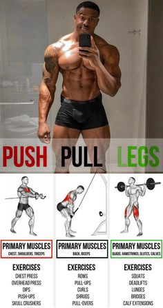 If you are past the beginner's stage and want to gain muscle, one of the best body part splits you can use to accomplish this is the push/pull/legs split routine.The push/pull/legs split is one of the. Fitness Workouts, Weight Training Workouts, Yoga Fitness, Muscle Fitness, Gain Muscle, Fitness Tips, Gym Workout Chart, Gym Workout Tips, 30 Minute Workout