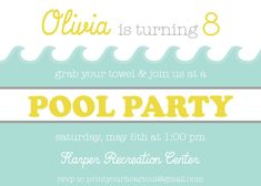 swimming pool party birthday invitation