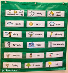 Weather Picture Word Cards in a Pocket Chart. Free download from PreKinders.
