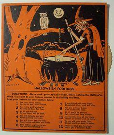 Vintage Halloween Ephemera ~ Halloween Fortune Telling Game