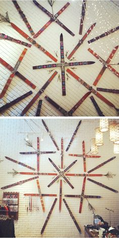 Ski decor - painted skis arranged in pattern - wonderful for a snow country home.