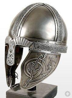 A viking helmet! Remember it is just a myth that vikings had horn on their helmets! Viking Armor, Viking Helmet, Medieval Armor, Medieval Fantasy, Arm Armor, Helmet Armor, Warrior Helmet, Viking Dress, Armadura Medieval
