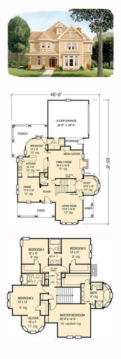 Victorian House Plan 95560   Total Living Area: 2772 sq. ft., 4 bedrooms and 3.5 bathrooms. #victorianhome
