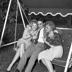 Alain Delon, Romy Schneider and her mother (1959)