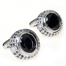 Antique Platinum Plated Black Diamond Crystal Cufflinks