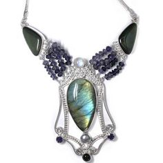 Offerings Sajen 925 Sterling Silver Labradorite Obsidian Necklace with Iolite  #Pendant
