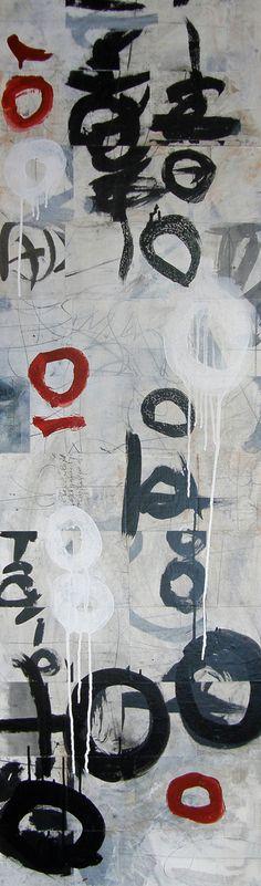 """Laura Wait Shodo III. 60"""" x 18"""" acrylic on panel, paper, sumi."""