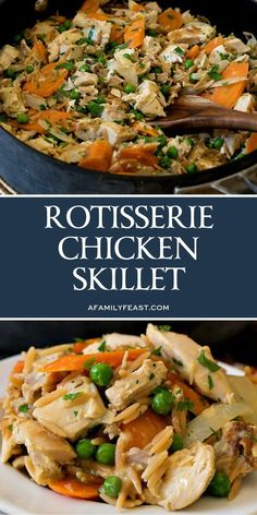 Rotisserie Chicken Skillet - Dinner is served in about 30 minutes with this easy and flavorful recipe! Rotisserie Chicken Skillet - Dinner is served in about 30 minutes with this easy and flavorful recipe! Great Dinner Recipes, Quick Meals For Dinner, Dinner Ideas With Chicken, Dinner For 2, Dinner Meal, Dinner Entrees, Chicken Skillet Recipes, Recipe Chicken, Dinner Side Dishes