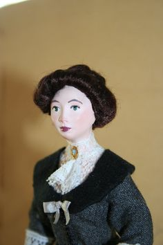 Lady in grey - 1/12th scale Dollhouse handmade Miniature Late Victorian Lady - OOAK by Pathy
