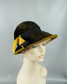 Vintage 1960s Hat Brimmed Cloche Faux Fur and Wool by Lisa Sz 22 by alleycatsvintage on Etsy