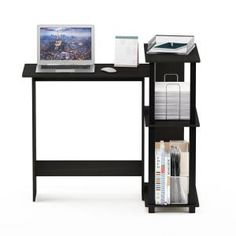 Furinno Abbott Corner Computer Desk with Bookshelf is made out of medium density fiber board which improves durability and increase the life span of the product. Additional space located at the side of the desk is available for storage and organizati Black Corner Computer Desk, Computer Desk With Shelves, Computer Desks For Home, Bookshelf Desk, Bookshelves, Corner Desk, Computer Lessons, Technology Lessons, Computer Lab