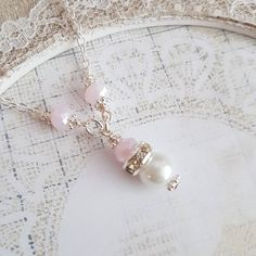 Pale pink with white flower girl necklaces tomorrow in my shop or just send me a message#handmade #jewelry #wedding #flowergirl #weddings #bride #bridal #pink #romantic #giftideas #kids #children #craft #crafts #pearls #etsyshop #etsy