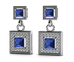 Milgrain Halo Sapphire Earrings in White Gold