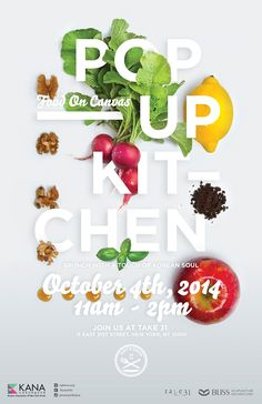 Graphic Design - Poster Design Inspiration - POP-UP KITCHEN: Food on Canvas Saved onto Typography Collection in Typography Category Layout Design, Graphisches Design, Design Food, Flyer Design, Design Ideas, Jazz Poster, Retro Poster, Vintage Poster, Food Typography