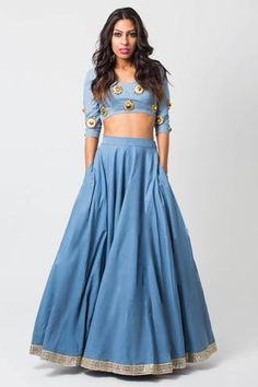 Buy art silk light sky blue Party wear lehenga choli with scintillating lace & embroidery work.This set is features a blue blouse in silk fully embellished with crystal, embroidery.It has matching light sky blue lehenga in art silk and light sky blue Blue Lehenga, Indian Lehenga, Churidar, Anarkali, Indian Dresses, Indian Outfits, Indian Wear, Indian Style, Ghaghra Choli