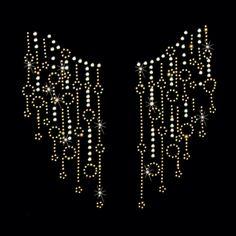 12x11 - GOLD SPLIT NECKLINE - STONES/STUDS - gold, gold split neckline, neckline, rhinestones, rhinestuds, stones, studs, Material Transfer, Necklines