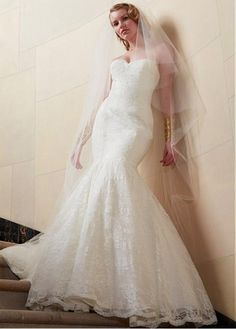 STUNNING ALENCON LACE MERMAID SWEETHEART NECKLINE NATURAL WAISTLINE WEDDING DRESS IVORY WHITE LACE BRIDAL GOWN