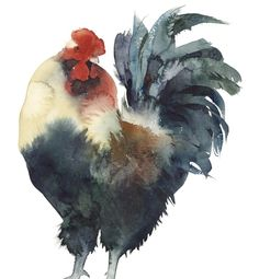 ARTFINDER: Gallo by Kate Osborne - another cockerel, full of the joys of spring, painted using watercolour