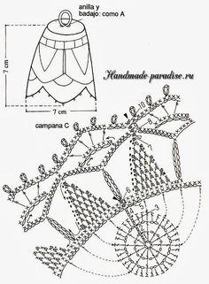 Схема вязания крючком колокольчика Crochet Christmas Decorations, Crochet Ornaments, Crochet Snowflakes, Xmas Decorations, Christmas Bells, Christmas Cross, Christmas Diy, Crochet Diagram, Crochet Patterns