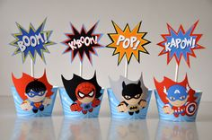 Super Heroes party cupcake wrappers & flash toppers with