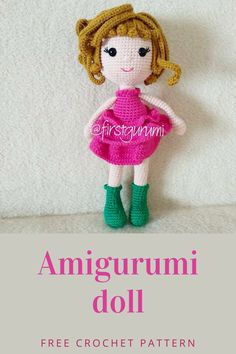 Crochet doll amigurumi free pattern #dollamigurumi #doll girl toy Doll Amigurumi Free Pattern, Amigurumi Doll, Free Crochet, Crochet Hats, Toys For Girls, Crochet Patterns, Teddy Bear, Dolls, Knitting Hats