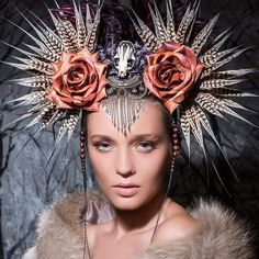 Hand-inked mink skull headdress with silk cocoons. #feathers #headdress #headpiece #millinery #milli - shunyatadesigns