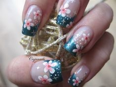 French tip with flowers and stars