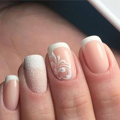 19 Ideas French Manicure Gel White For 2019 French Nails, French Manicure Gel, Glitter Manicure, Gold Nails, Glitter Gel, White Manicure, Gold Glitter, French Toes, Plum Nails
