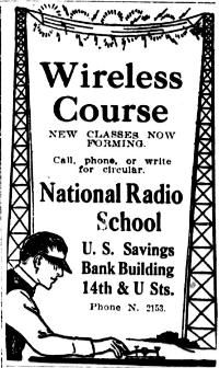 National Radio School, later National Radio Institute, 1915 newspaper ad.