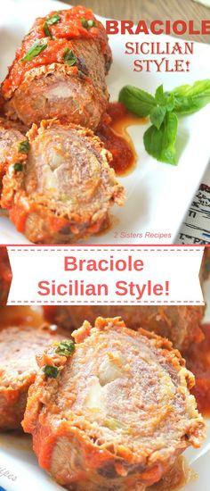 Braciole - Sicilian Style - Braciole – Sicilian Style – 2 Sisters Recipes by Anna and Liz - Italian Meats, Italian Dishes, Italian Foods, Italian Cooking, Meat Recipes, Cooking Recipes, Healthy Recipes, Giada Recipes, Gourmet