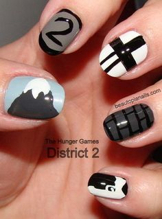 The Hunger Games District 2 inspired nails