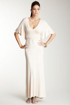 Beige Flutter Sleeve Maxi Dress by American Twist on @HauteLook