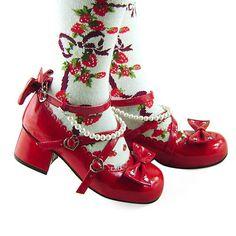 Black Beads Bows Lolita Shoes