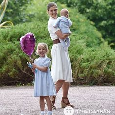 The Crown princess of sweden with her children princess Estelle and prince oscar ❤️ #victoriadagen
