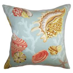 Cotton throw pillow with a seashell motif and down-feather fill. Made in Boston.  Product: PillowConstruction Material: