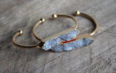 Grey Druzy Stone Bar Cuff Bracelet - Gold