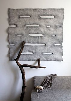 Grey felt - there's another theme here. And bringing a stick inside - simple, cheap and effective ; Felt Wall Hanging, Textile Sculpture, Felt Pictures, Homemade Art, Wool Art, Felt Decorations, Sewing Art, Nuno Felting, Handmade Felt