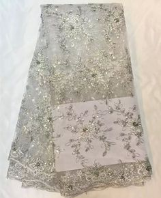 Wonderful french net lace flower series in whit African embroidery tulle lace fabric with sequins for dress QN8-4,5yards/pc #Affiliate