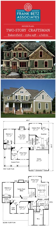 Bakersfield: 2584 sqft, 4 bdrm craftsman house plan design by Frank Betz Associates Inc.