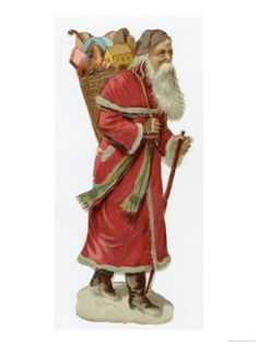 Santa in a Red Coat with a Basket Full of Toys