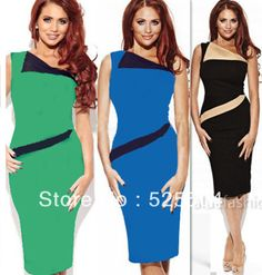 Free Shipping Womens 3colors Pinup Rockabilly Colorblock Bodycon Patchwork Stretch Shift Wiggle Pencil Dress $21.61