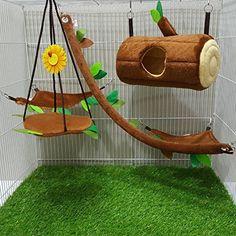 Hot Sale! 5 Pcs Sugar Glider Hamster Squirrel Chinchillas Small Pet Light Brown Log Cage Set Forest Pattern, Polar Bear's Republic