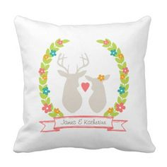 Whimsical Woodland Deer Monogram Wedding ceremony Souvenir Throw Pillow.  Learn even more at the photo link